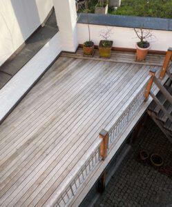 Terrassenbelag aus Gekalkten Eichenbohlen